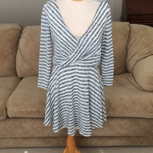 Free People Grey and White Striped Dress Sz S P